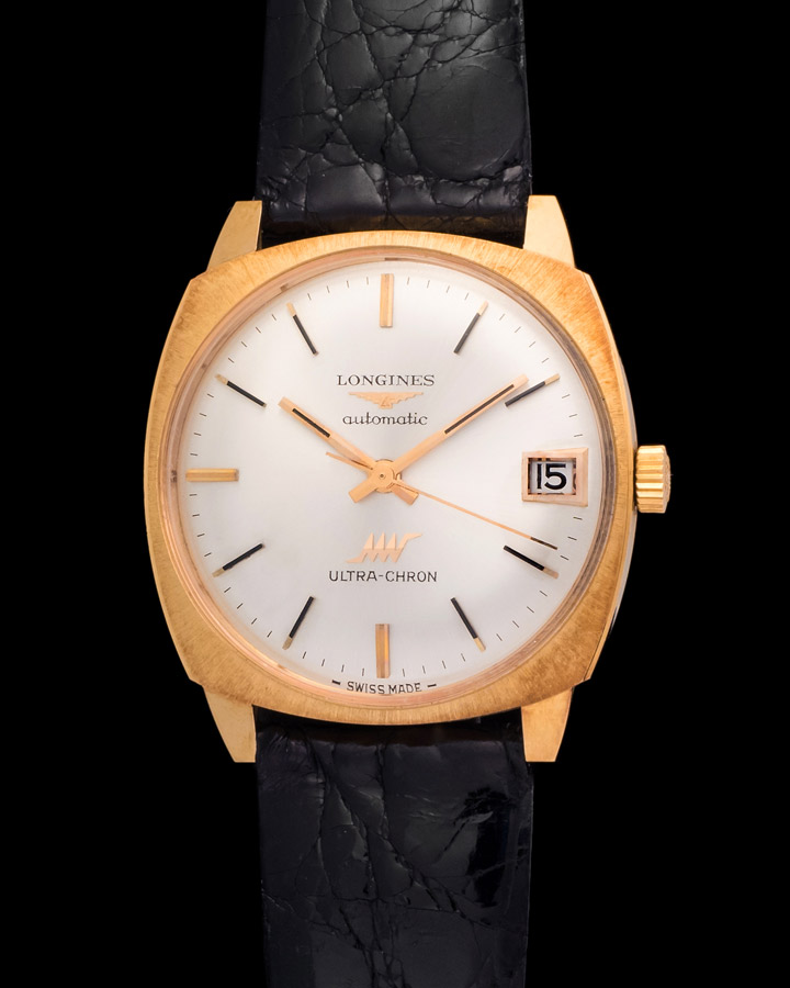 12d0563319a Longines Automatic Ultra-chron new old stock, cushion case ,18kt pink gold.  Sold. 7135